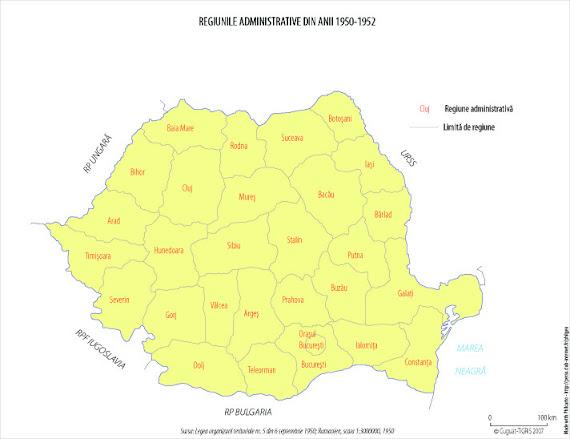 Harta administrativ-teritorială a României între 1950 - 1952
