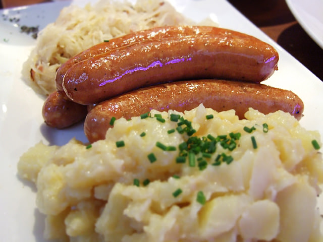 Pork cheese sausages