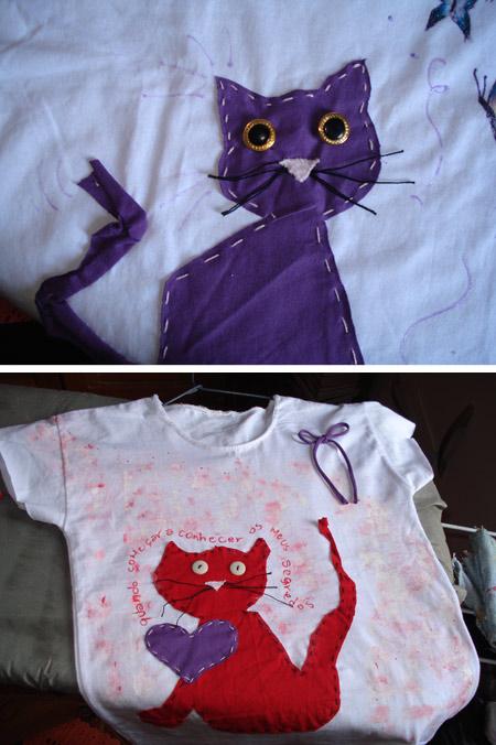 As blogueiras customizam - Talita - customização de camiseta estampa gato
