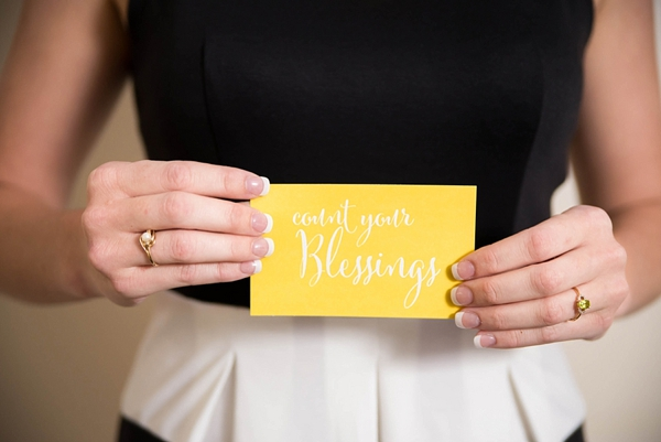 Count your blessings card for Thanksgiving inspired rehearsal dinner