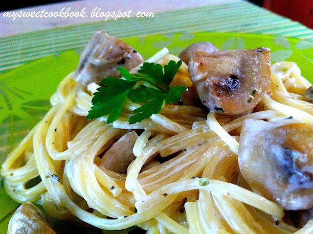Рецепт №8: Макароны со сливками и грибами