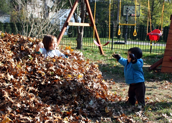 SteelyKid in a big pile of leaves, the Pip standing next to the pile holding some leaves in  his upraised arms