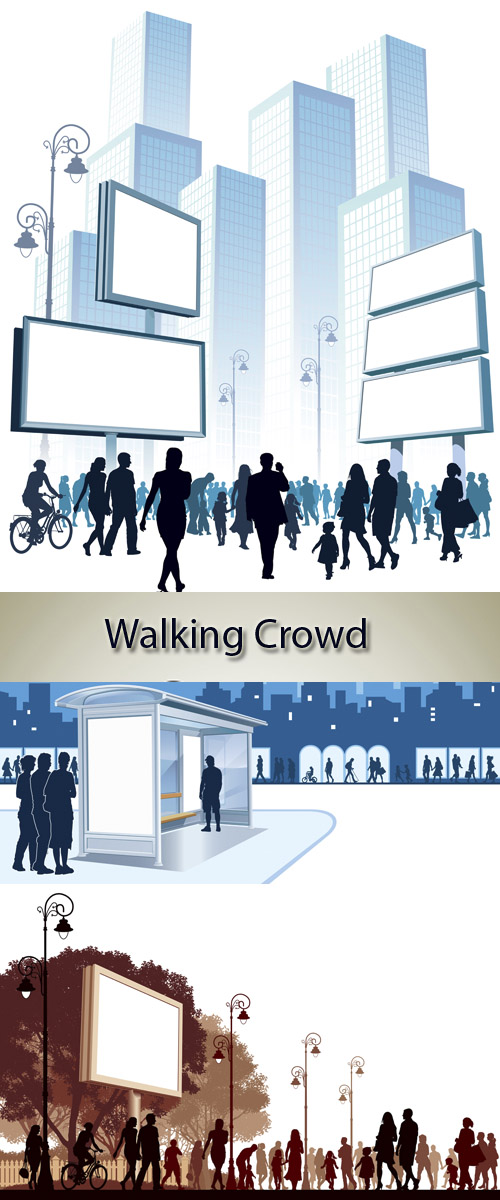 Stock: Walking Crowd