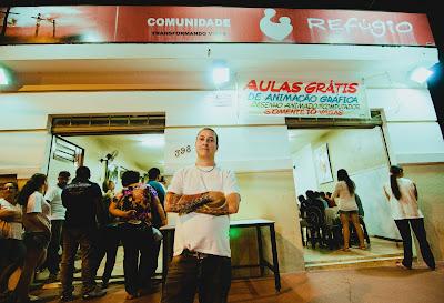 Marcio at the Refugio centre: 'Refuge Community-Changing Lives'