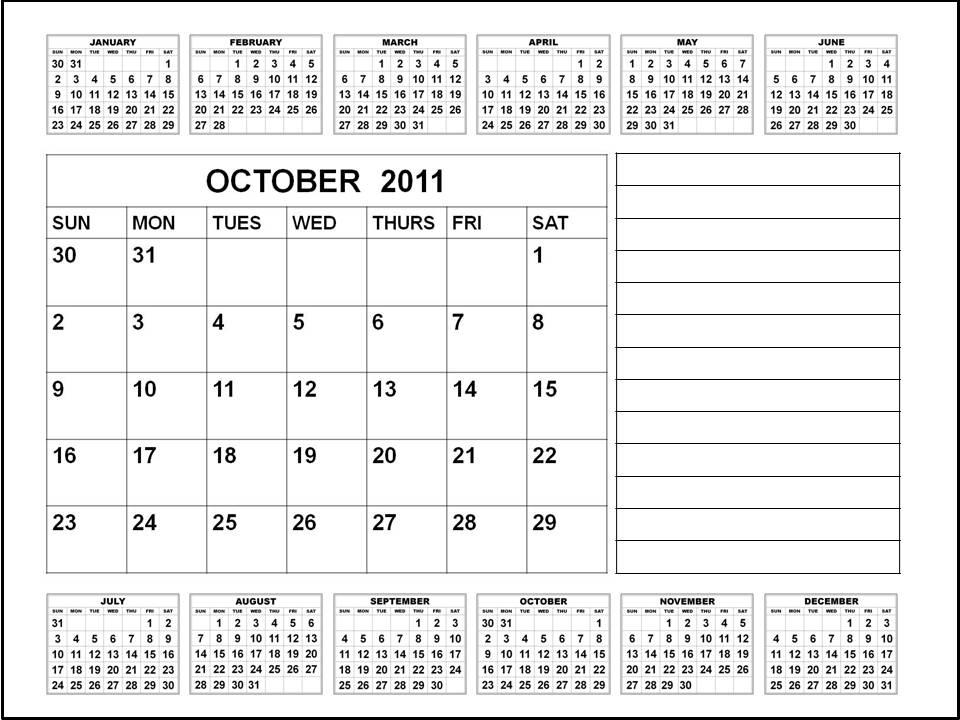october calendar 2011. Calendar 2011 October