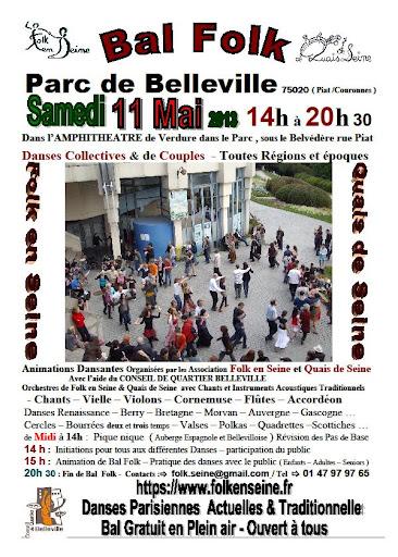 Bal folk samedi 11 mai au parc de Belleville à Paris (75)