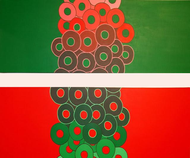 contraste verde rojo,pintura en acrílico de Lola Tajahuerce