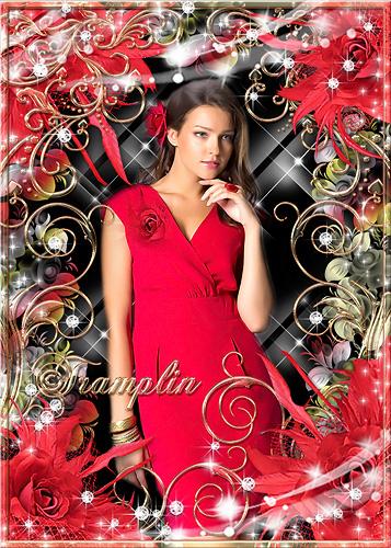 Рамка для фото с красными розами - Яркое пламя ее лепестков  заворожило все царство цветов