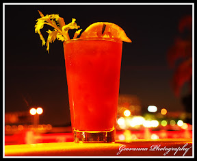 Glass of Bloody Mary Posing on Edge Tampa Florida On Night Photography Settings at a very Slow Shutter
