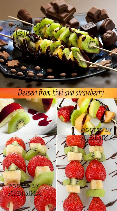 Stock Photo: Dessert from kiwi and strawberry
