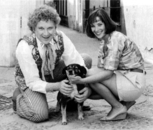 Colin Baker and Nicola Bryant and a puppy