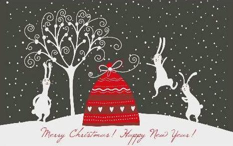 Sfondi di Natale conigli e neve