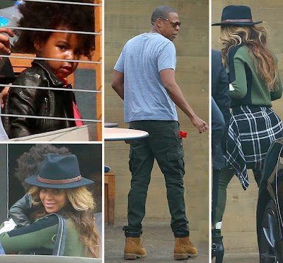 EXCLUSIVE PHOTOS - BEYONCE AND JAY Z TAKE BLUE IVY TO SUSHI IN MALIBU