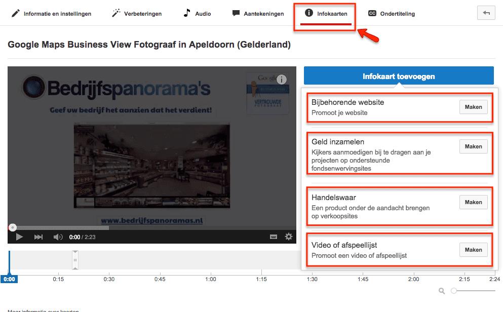 Voorbeelden van YouTube infokaarten