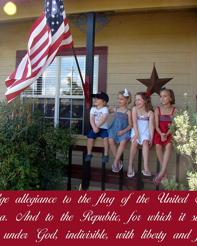 pic of kids on porch with flag