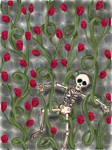 sleeping beauty dornroeschen pattern roses skeleton