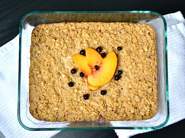 Top view of baked oatmeal