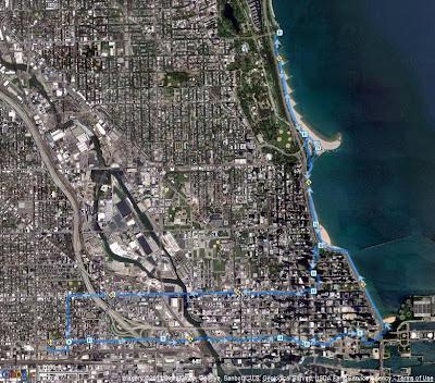 Chicago Lakeshore 10 Miler - GPS Track