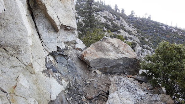 Large boulder fallen onto the PCT