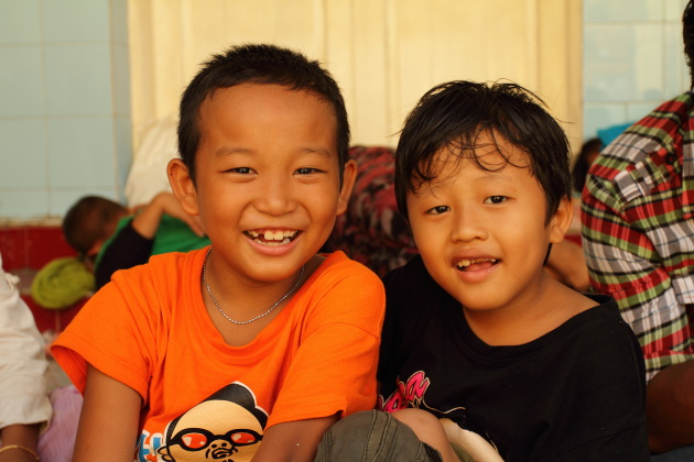 Two Burmese Boys at Sule Pagoda, Yangon, Burma