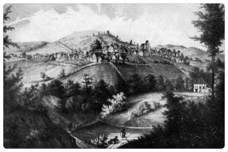 Alt-Oerlinghausen. Lithographie von Emil Zeiß um 1860.