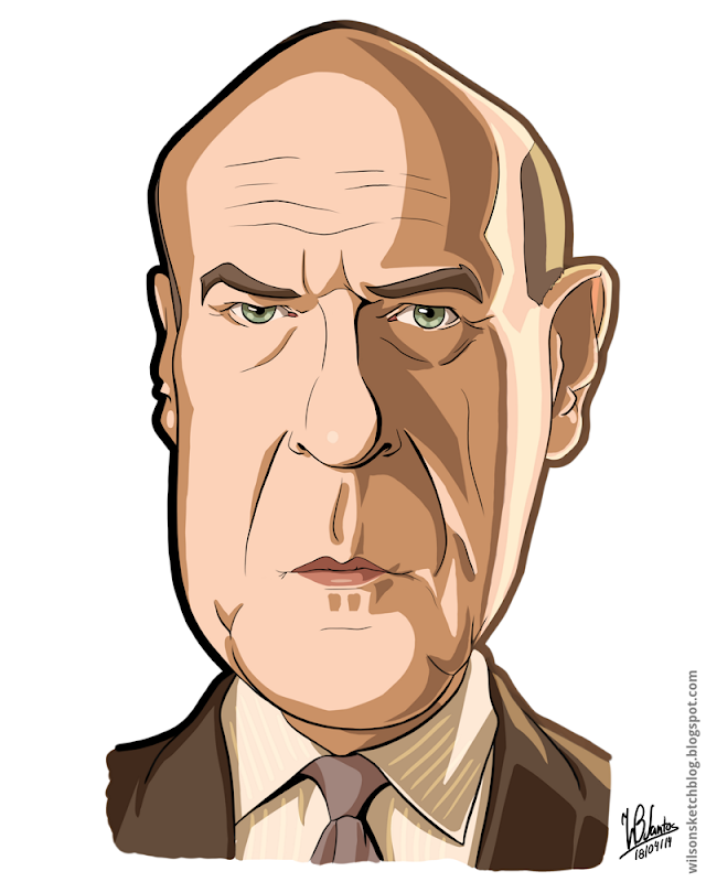 Cartoon caricature of Hank from Breaking Bad, using Krita.