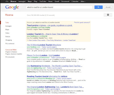 "Screen shot showing what Google does with ""stop words"" and other needless search terms"