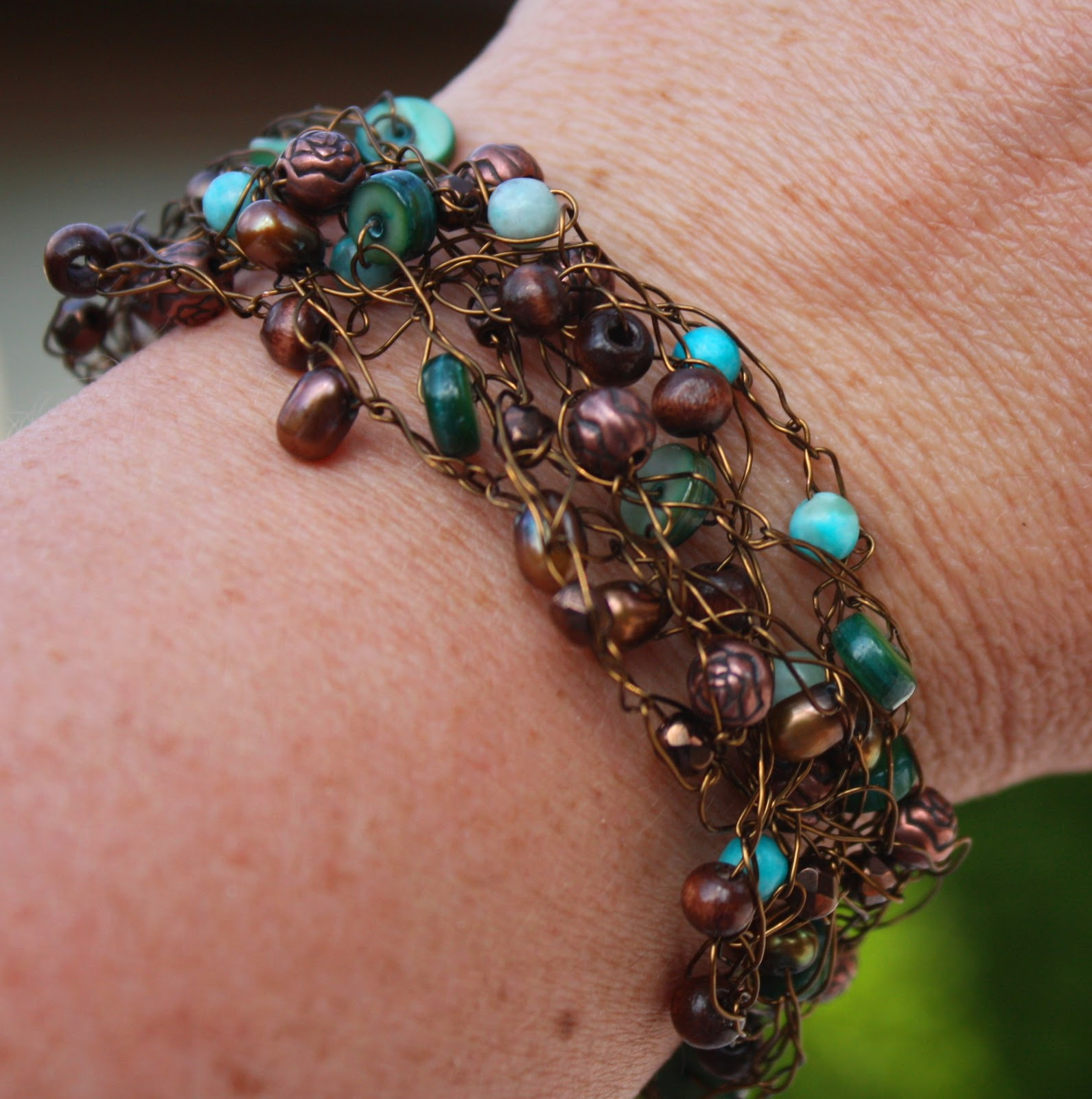 Wire Bracelets With Charms: Christy: Crocheted Wire Bracelet