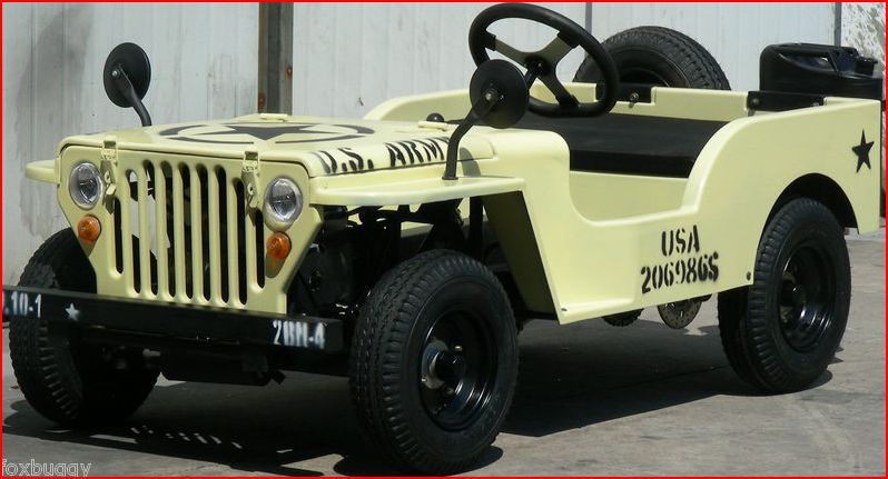 125cc US Army Jeep Mini Kids Offroad Buggy Grey Cream