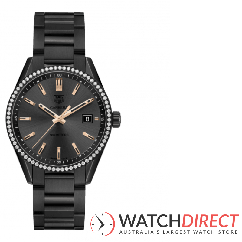 Tag Heuer Carrera Anthracite Dial Women's Titanium Diamond Watch available through Watch Direct.