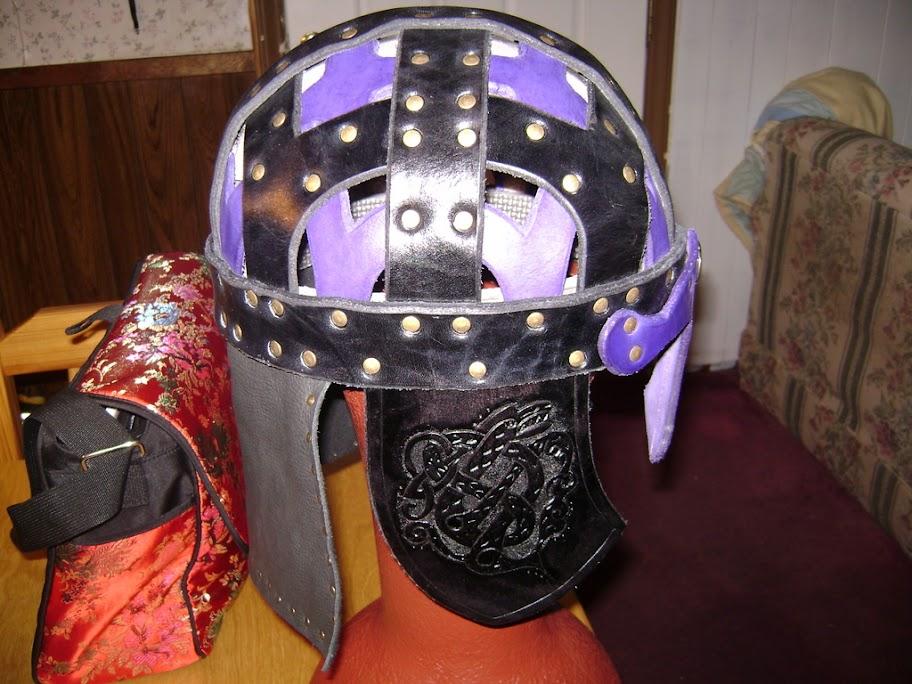 Leather Helmet, Valsgarde 6 Black & Purple - Armor