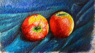 Daily Painting, oil painting of two pink lady apples on a blue silk background close up