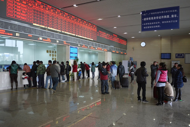 ticket windows at Guangzhou South Train Station in China
