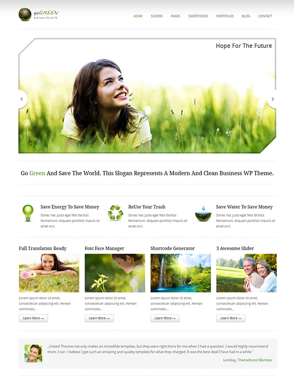 Go Green Eco Friendly WordPress Theme
