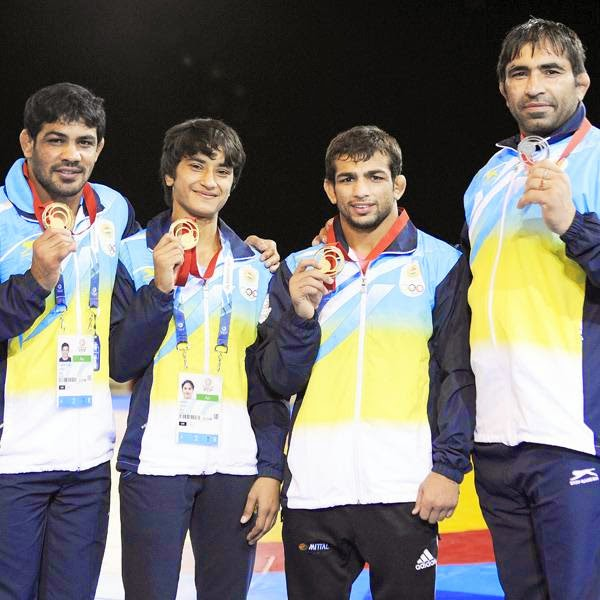 Indian wrestlers put on a stunning show with two-time Olympic medallist Sushil Kumar, Amit Kumar and teenager Vinesh Phogat bagging three gold medals in their respective categories at the 2014 Commonwealth Games at the Scottish Exhibition and Conference Centre (SECC) on Tuesday.