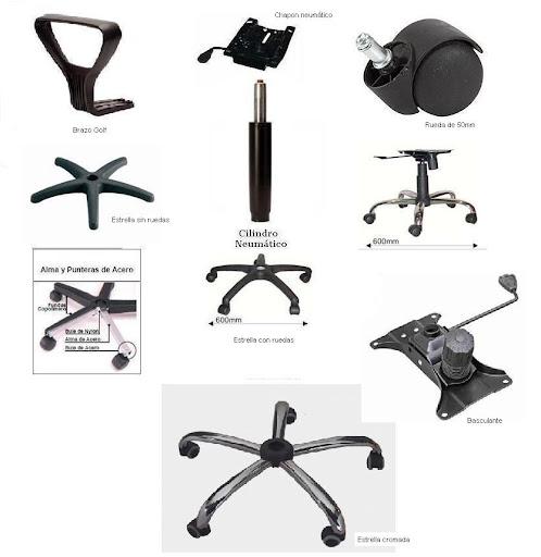 Estrella base repuestos y accesorio sillas giratoria pc for Repuestos sillas de oficina