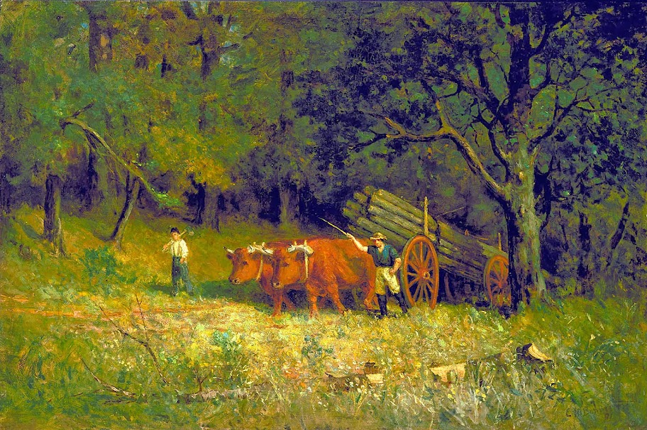 Edward Mitchell Bannister - Untitled (boy and man with oxen)