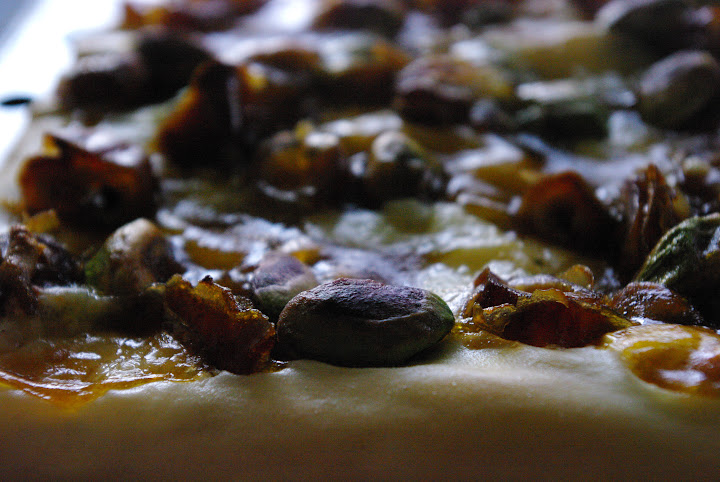 Phyllo Pizza with Dates, Pistachios, Blue Cheese and Maple Pumpkin Sauce