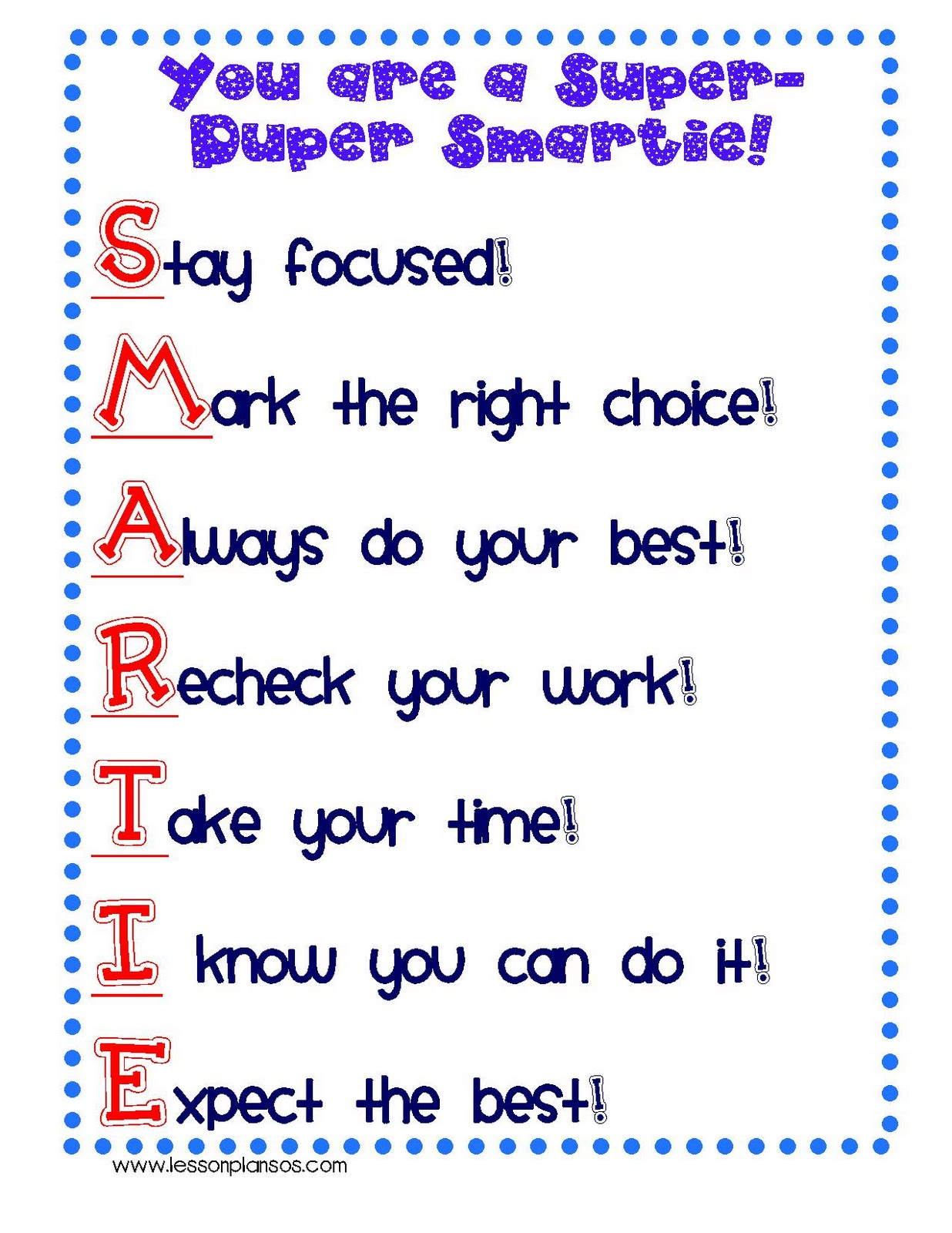 Find the Smartie Students sheet here! Place it on their desk before a ...