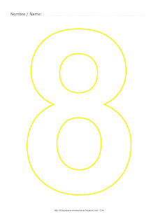 Dibujo para colorear y pintar el número ocho en color amarillo