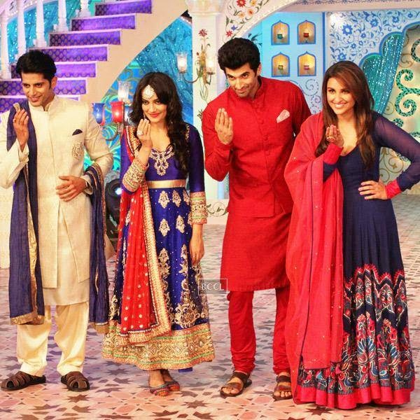 Karanvir Bohra and Surbhi Jyoti shake a leg with Aditya Roy Kapur and Parineeti Chopra on Zee TV's Eid special show, Dawaat-E-Eid. (Pic: Viral Bhayani)