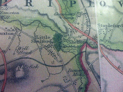 Little Shelford around 1850 including proposed canal??