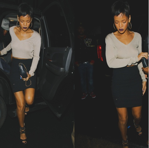 Rihanna in Vintage Rifat Ozbek Sweater and Jimmy Choo Blade Sandals