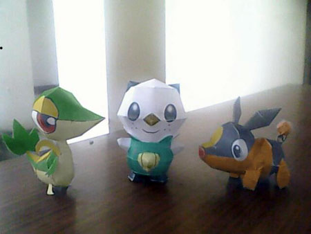 Mini Unova Starter Pokemon Papercraft