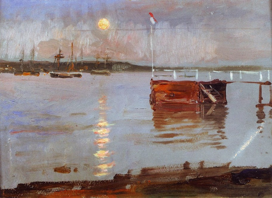 Albert Edelfelt - Haikko Jetty in the Moonlight