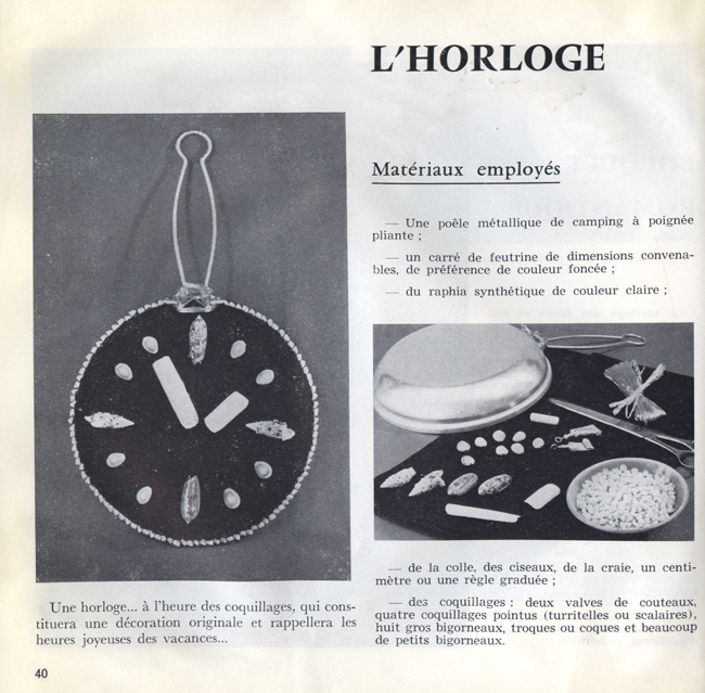 Collection savoir-faire : Merveilleux coquillages - L'horloge. Pour vous Madame, pour vous Monsieur, des publicités, illustrations et rédactionnels choisis avec amour dans des publications des années 50, 60 et 70. Popcards Factory vous offre des divertissements de qualité. Vous pouvez également nous retrouver sur www.popcards.fr et www.filmfix.fr   - For you Madame, for you Sir, advertising, illustrations and editorials lovingly selected in publications from the fourties, the sixties and the seventies. Popcards Factory offers quality entertainment. You may also find us on www.popcards.fr and www.filmfix.fr.