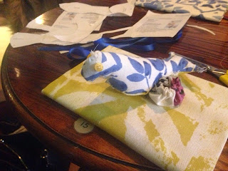 Fabric book cover and bird