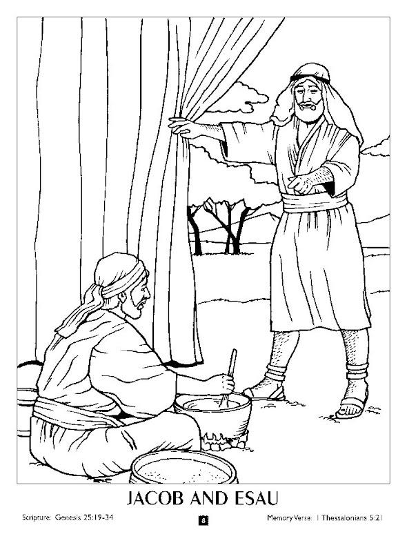 Jacob y Esaú para colorear