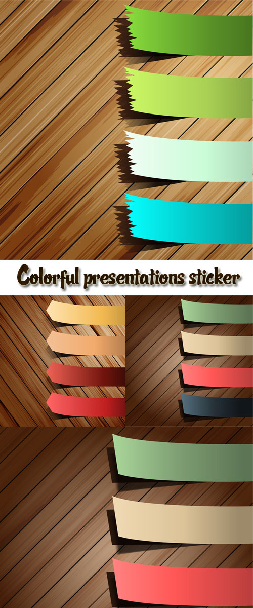 Stock: Colorful presentations sticker on wooden background