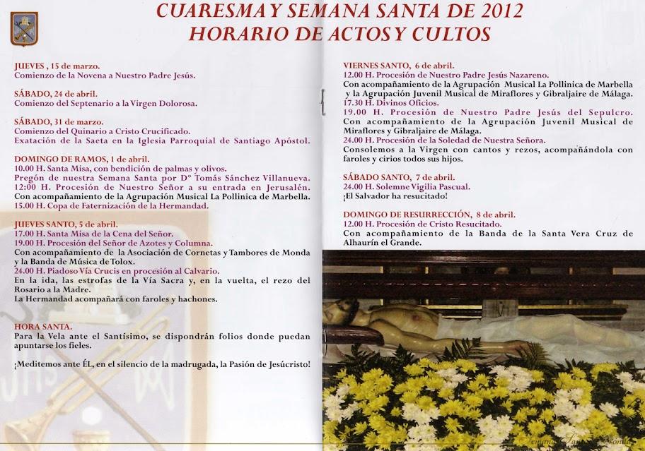 Programa Semana Santa Monda, 2012